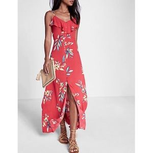 Express Petite Ruffle floral maxi dress